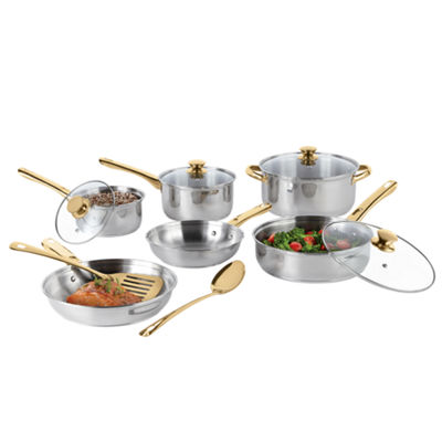 Cooks 12pc Stainless Steel Gold Handle Cookware Set