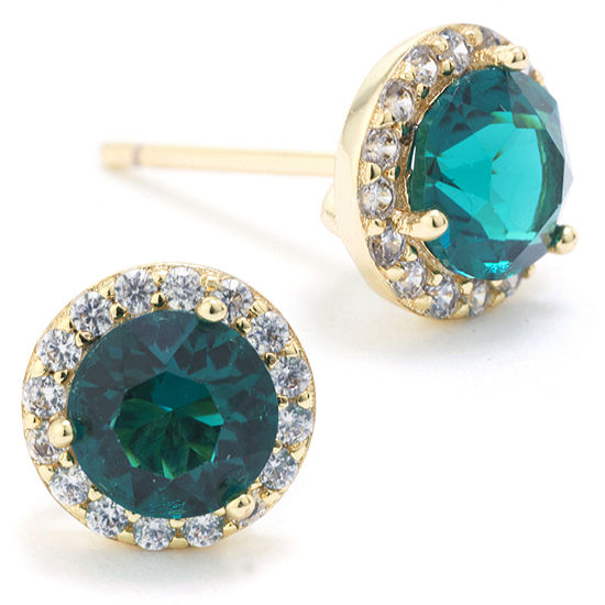 84b15b4cb285d Sparkle Allure Swarovski Crystal Halo Stud Earrings Green 14K Gold ...