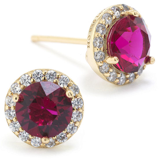 Sparkle Allure Swarovski Crystal Halo Red 14K Gold Over Brass 8.5mm Round Stud Earrings