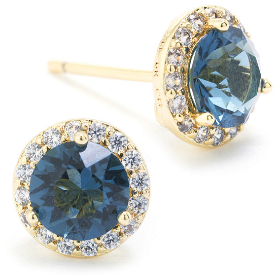 Sparkle Allure Swarovski Crystal Halo Blue 14K Gold Over Brass 8.5mm Round Stud Earrings