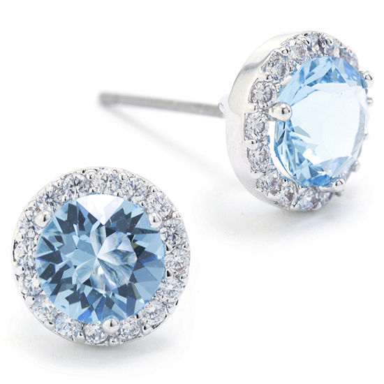 1bbfa6a40fef9 Sparkle Allure Swarovski Crystal Halo Blue Pure Silver Over Brass 8.5mm  Round Stud Earrings