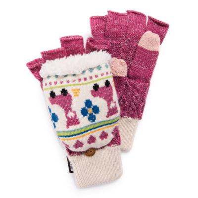 Muk Luks Womens Fingerless Flip Knit Midweight Mittens