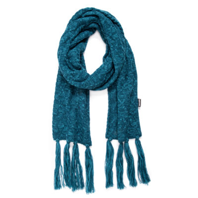 Muk Luks Womens Traditional Tassel Oblong Cold Weather Scarf