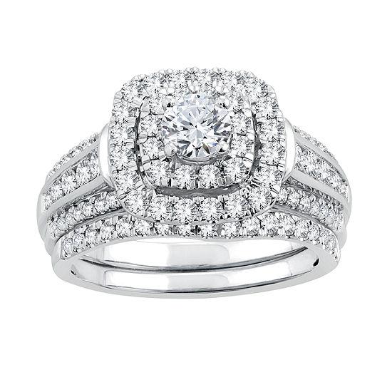 Womens 1 1 2 Ct Tw Genuine White Diamond 14k White Gold Bridal Set