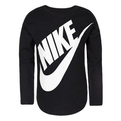 Nike Girls Crew Neck Long Sleeve Graphic T-Shirt-Preschool