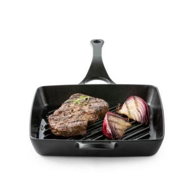 "Cooks Signature Preseasoned 11"" Cast Iron Square Grill Pan"