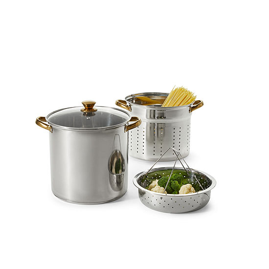 Cooks 12-qt. Stainless Steel Stockpot with Polish Gold Handles and Lid