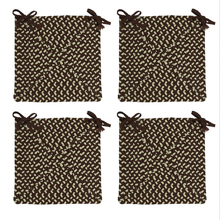 Colonial Mills Braided Montego Chair Pads Set or Single Indoor/Outdoor Use, One Size , Brown