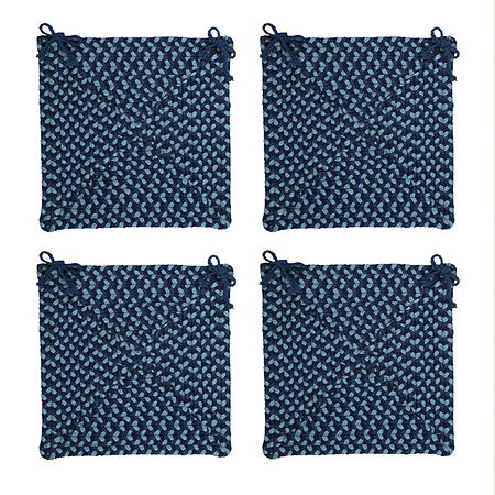 Colonial Mills Braided Montego Chair Pads Set or Single Indoor/Outdoor Use, One Size , Blue