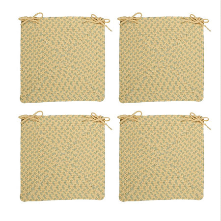 Colonial Mills Braided Montego Chair Pads Set or Single Indoor/Outdoor Use, One Size , Yellow