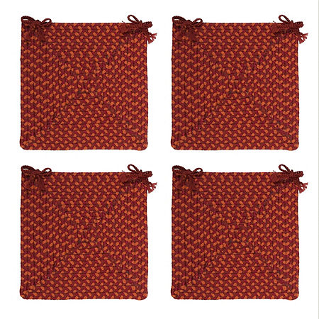 Colonial Mills Braided Montego Chair Pads Set or Single Indoor/Outdoor Use, One Size , Red