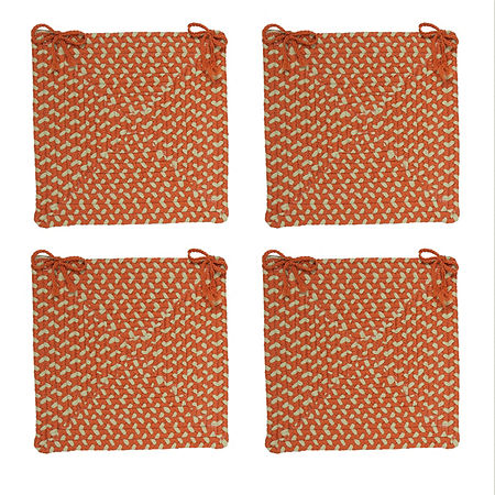 Colonial Mills Braided Montego Chair Pads Set or Single Indoor/Outdoor Use, One Size , Orange