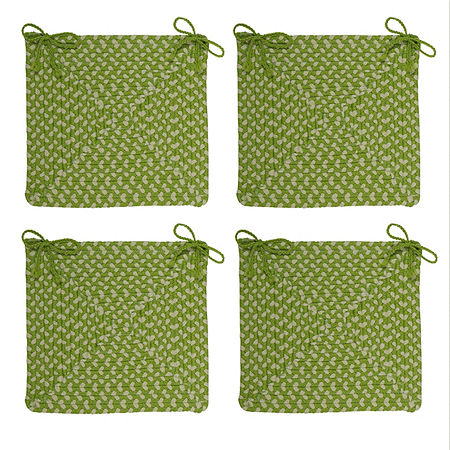 Colonial Mills Braided Montego Chair Pads Set or Single Indoor/Outdoor Use, One Size , Green