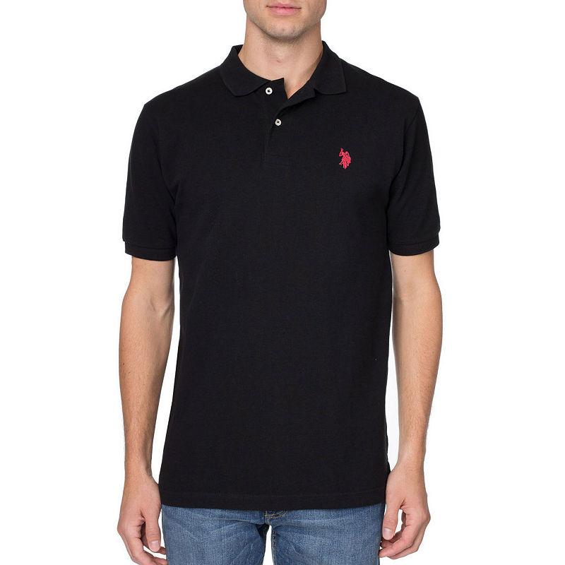 U.S. Polo Assn. Short Sleeve Pique Polo, Men's, Black, Size Large