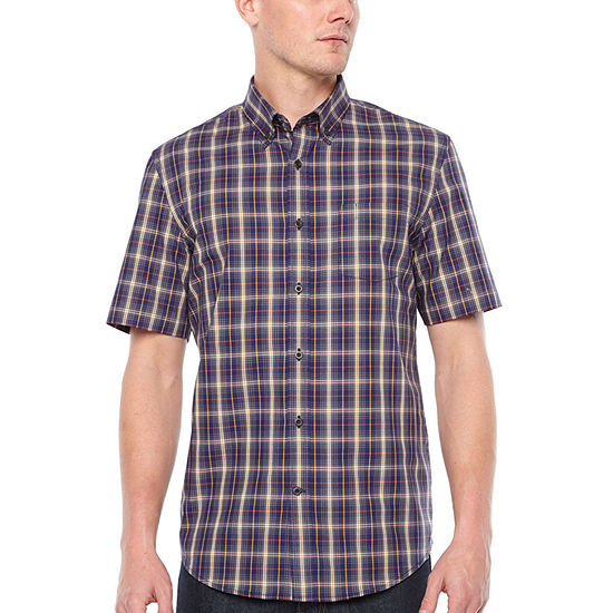 Big Mac Big and Tall Mens Short Sleeve Moisture Wicking Plaid Button-Front Shirt
