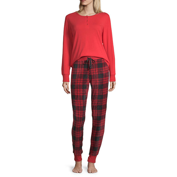 Holiday #Famjams Red Buffalo Womens-Average Figure Pant Pajama Set 2-pc. Long Sleeve