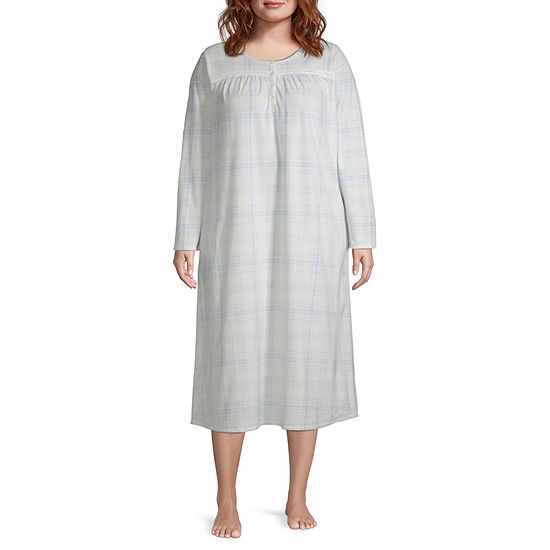 Adonna Womens Fleece Long Sleeve Round Neck Nightgown - Plus