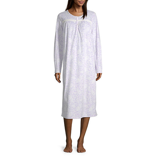 Adonna Womens Fleece Long Sleeve Round Neck Nightgown - Petite