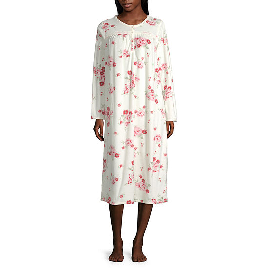 Adonna Womens Fleece Long Sleeve Round Neck Nightgown - Petite