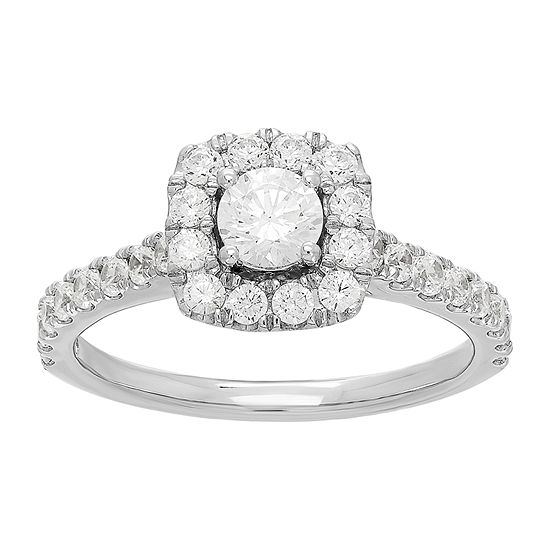 Grown With Love Womens 1 CT. T.W. Lab Grown White Diamond 14K White Gold Engagement Ring