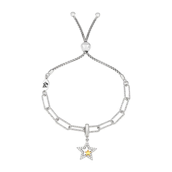 PS Personal Style White Cubic Zirconia Sterling Silver Star Charm Bracelet