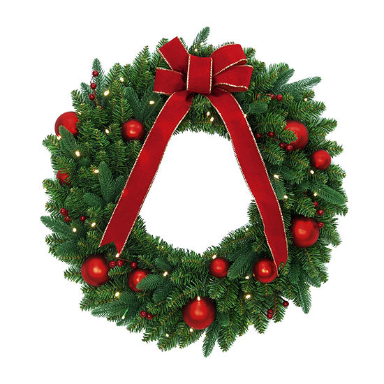 National Tree Co. Red Velvet Mixed Fir With Led Wreath