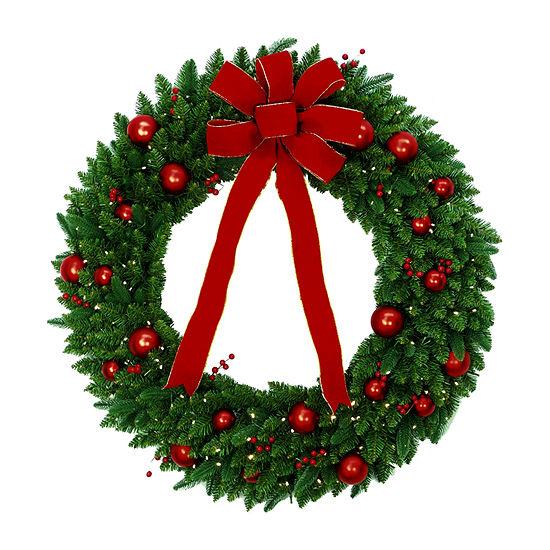 National Tree Co. Pre Lit Battery Operated Red Velvet Fir Wreath
