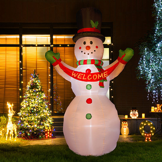 Glitzhome Lighted Snowman With Welcome Sign Inflatables