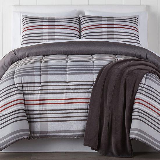 Reed 4-pc. Stripes Reversible Comforter Set