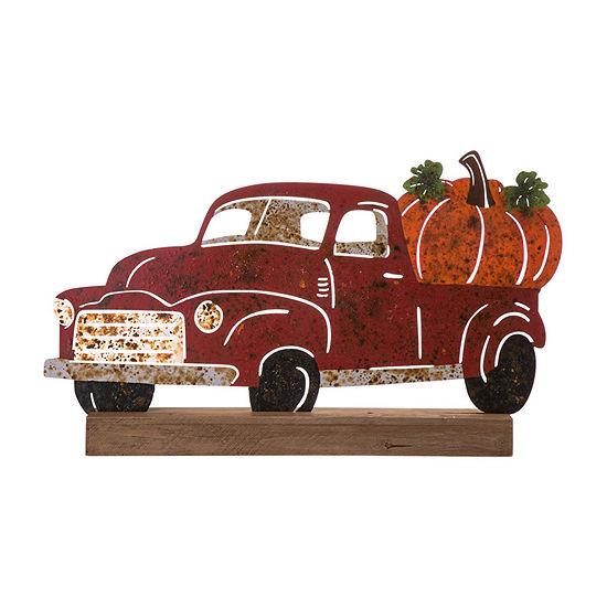 Glitzhome Wooden & Metal Rusty Truck Tabletop Decor