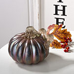 Glitzhome Glittery Small Round Glass Pumpkin Tabletop Decor