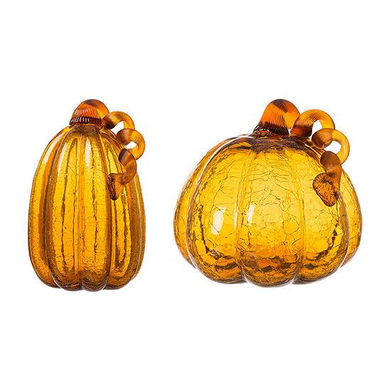 Glitzhome Amber Crackle Glass Pumpkin 2-pc. Tabletop Decor