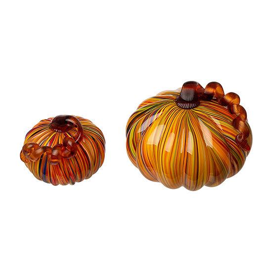 """Glitzhome """"Multi Striped Glass Short Pumpkin 2-pc. Tabletop Decor"""
