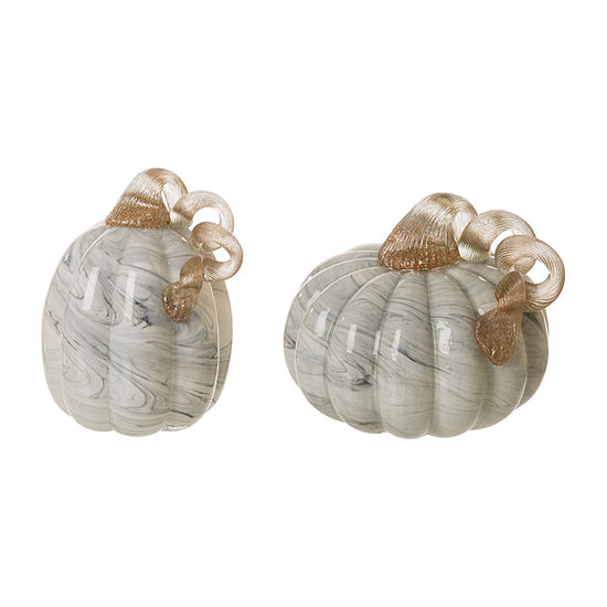 Glitzhome Gray Marble Glass Pumpkin 2-pc. Tabletop Decor