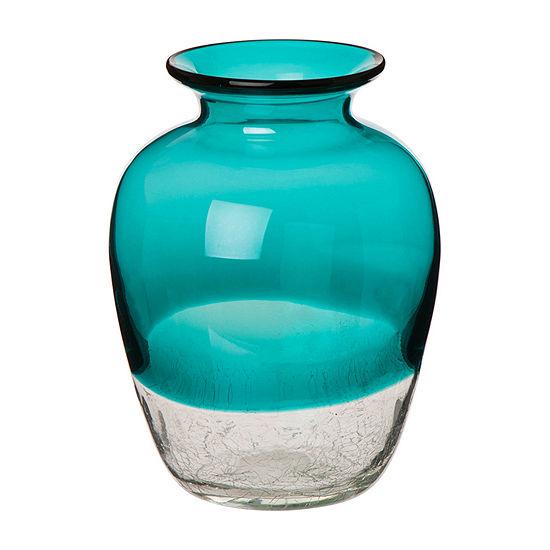Glitzhome Two Tone Glass Vase Tabletop Decor