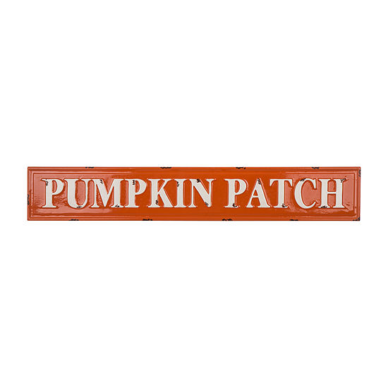 "Glitzhome Enameled Metal ""Pumpkin Patch"" Wall Sign"