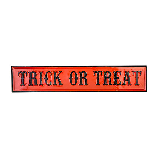 """Glitzhome Enameled Metal """"Trick Or Treat"""" Wall Sign"""