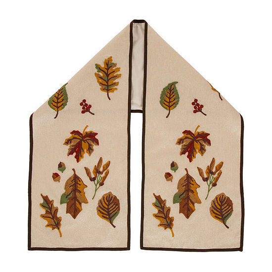 Glitzhome Fall Embroidered Leaves Table Runner