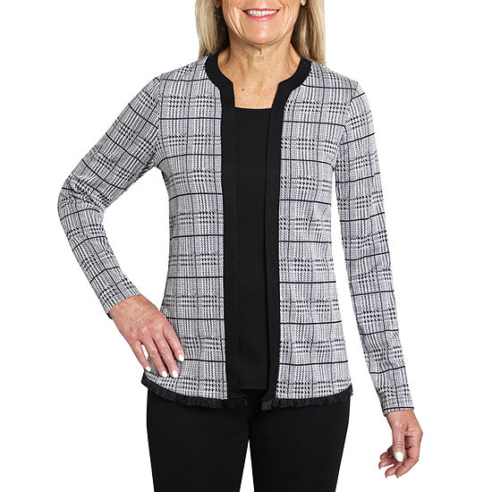 Cathy Daniels Two For One Womens Round Neck Long Sleeve Layered Top