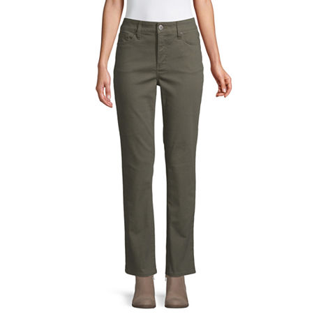 St. John's Bay Womens Mid Rise Stretch Straight Leg Jean, 4 , Green
