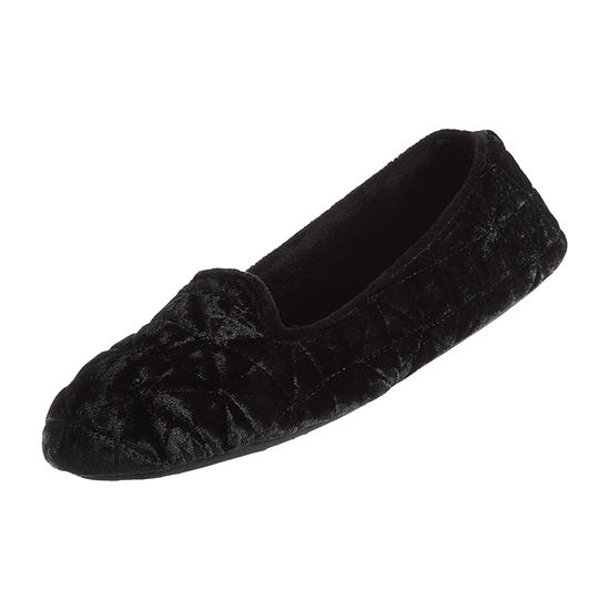 Isotoner Quilted Velour Womens Slip-On Slippers