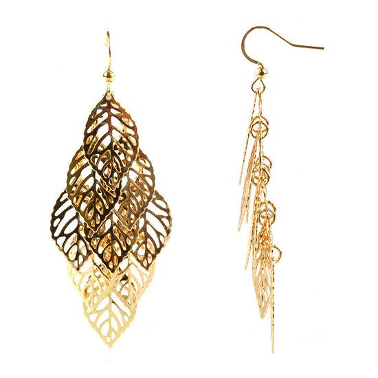 Bold Elements Leaf Drop Earrings