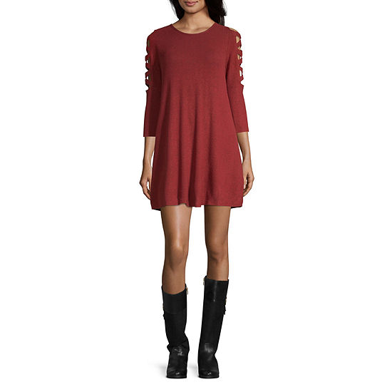 Byer California-Juniors 3/4 Sleeve Sweater Dress