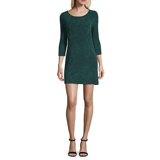 Trixxi 3/4 Sleeve Fit & Flare Dress-Juniors