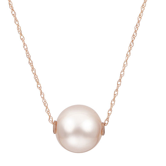 Womens Pink Cultured Freshwater Pearl 10K Rose Gold Pendant Necklace