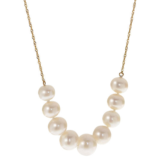 Womens White Cultured Freshwater Pearl 10K Gold Pendant Necklace