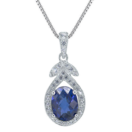 Womens Lab Created Blue Sapphire Sterling Silver Pendant