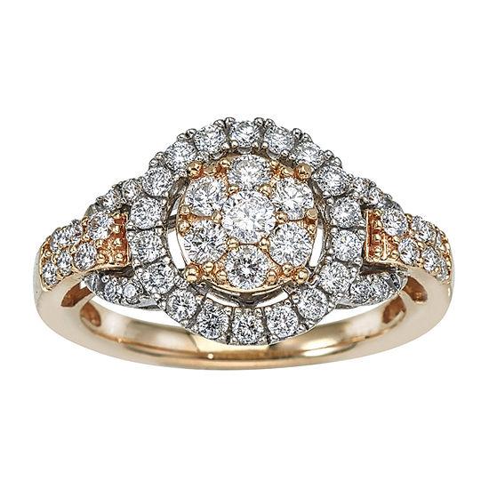 Diamond Blossom Womens 1 CT. T.W. Genuine White Diamond 14K Gold Cocktail Ring