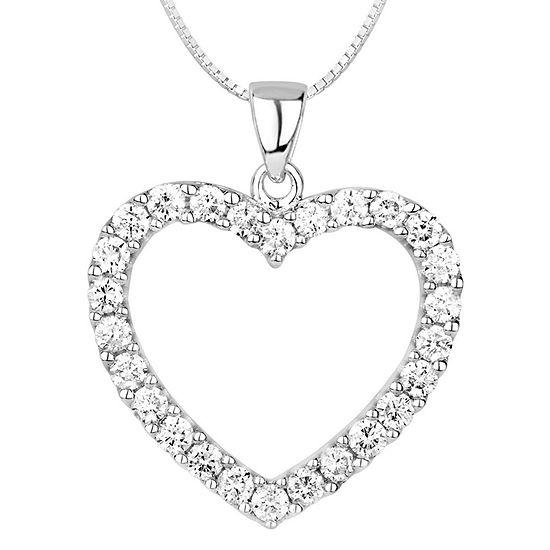 Womens 1 CT. T.W. Genuine White Diamond 14K Gold Heart Pendant Necklace