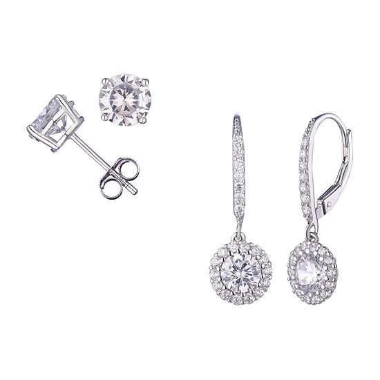 Diamonart 4 1/2 CT. T.W. White Cubic Zirconia Sterling Silver 2 Pair Earring Set